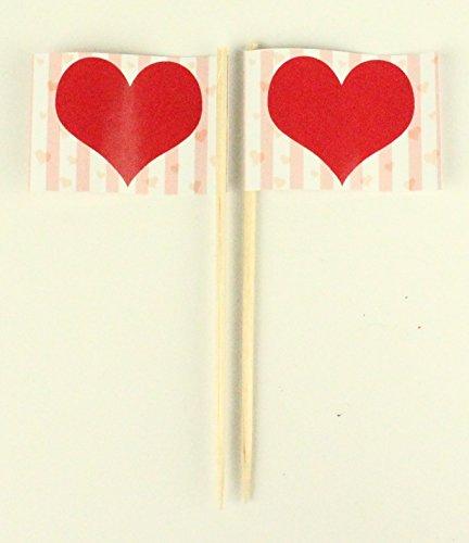 Party-Picker Flagge Herz Valentinstag Hochzeit Papierfähnchen in Profiqualität 50 Stück Beutel Offsetdruck Riesenauswahl aus eigener Herstellung