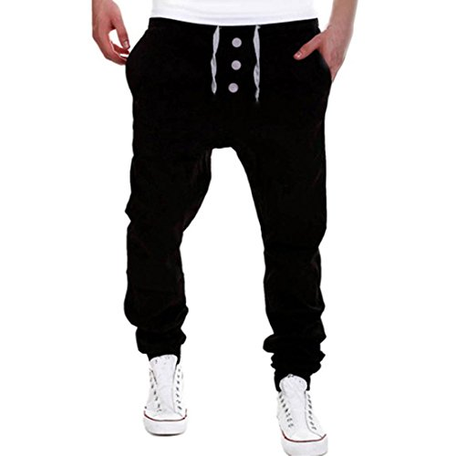 Pants Herren,Binggong Herren Rage Hosen Sweatpants Harem Hosen Slacks Lässige Jogger Dance Sportwear Baggy Drei Schnallen Freizeithose Slacks Stretch Einfarbig Hose (Schwarz, XXL)