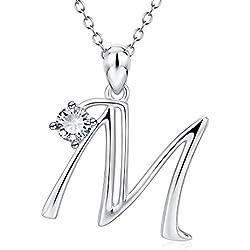 """Argent Sterling 26 Lettres Initiales Alphabet Lettre Pendentif Collier Cadeau Personnalisé Bijoux, 18"""". (Lettre M)"""