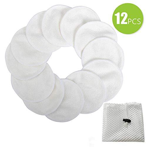 Meiruier 12 pcs Pieza Discos Desmaquillantes con Bolsa de Lavandería, Almohadillas Reutilizables para Quitar Maquillaje, Almohadillas lavables de algodón de bambú (12pcs(Blanco))