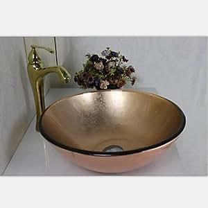 rose gold runde geh rtetes waschbecken aus glas mit wasserhahn einbauring und wasser ablassen. Black Bedroom Furniture Sets. Home Design Ideas
