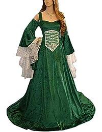 9e3dd12064338 Guiran Abito Lungo Donna Elegante Vestiti Medievali Costumi Carnevale  Rinascimento Abiti verde 2XL