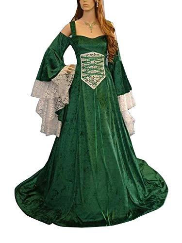 Guiran Abito Lungo Donna Elegante Vestiti Medievali Costumi Carnevale Rinascimento Abiti verde 2XL