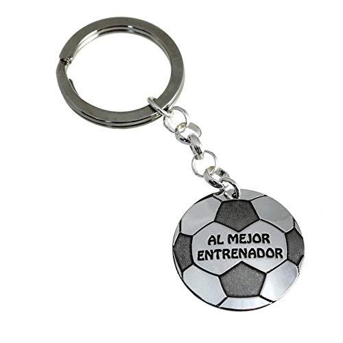 Minoplata Llavero balón fútbol Plata Al Mejor Entrenador
