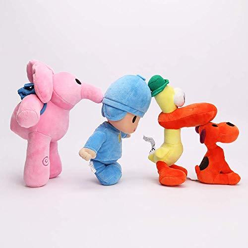 Mottdam - Juego de 4 muñecos de felpa de Pocoyo para niños con elefante rosa de cumpleaños, pato de Barto, perro Lula