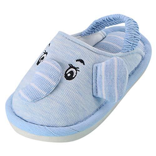 Zerototens Baby Slippers,15M-6T Infant Newborn Crib Unisex Boys Cartoon Cute Cartoon Elephant PVC Sole Warm Home Warm Cotton Fabric Slides Elastic Band Shoes