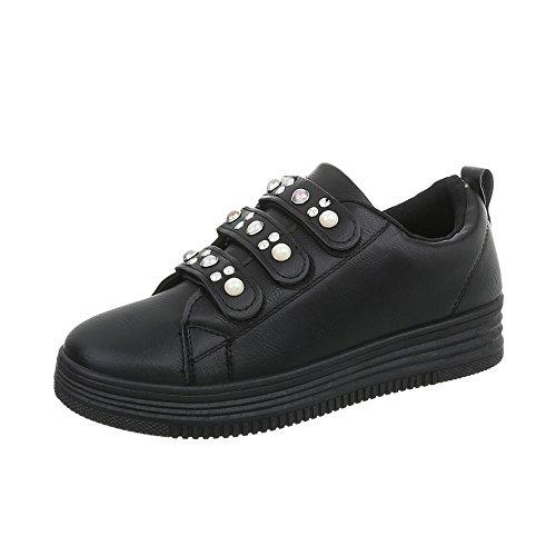 Ital-design Zapatos De Mujer Sneaker Flat Sneakers Low Black Fbk-108