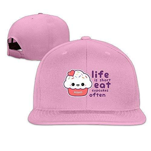 Life is Short Eat CEANakes Often Unisex Adjustable Flat Along Caps Outdoor Sports Baseball Hats Pink Baseball Cap -