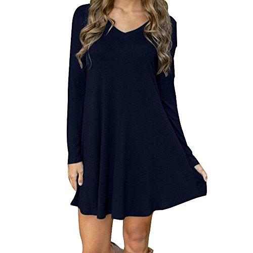 LSAltd Damen Herbst Winter Weinlese O Ansatz Kleid langes Hülsen beiläufiges Abend Partei Mini kleid (Blau, L) (Dessous-abend)