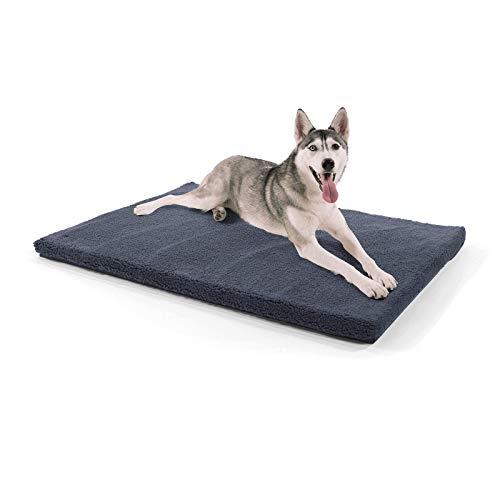 brunolie Luna extra große Hundedecke, orthopädisch, atmungsaktiv und waschbar, Hundematte mit gelenkschonendem Memoryschaum in Dunkelgrau, Größe XL (120 x 85 x 5 cm)