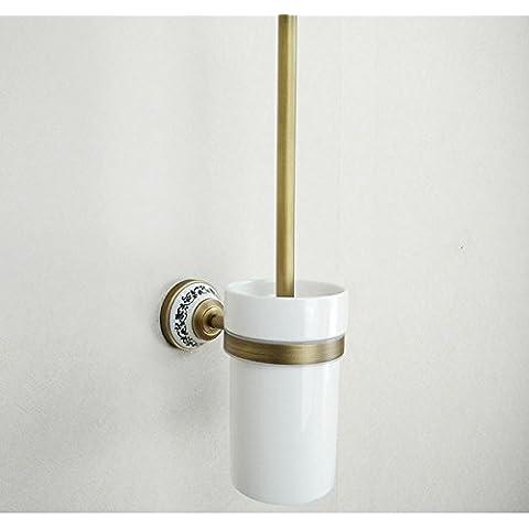 SBWYLT-Exclusivo y elegante higiénico sostenedor de cepillo del tocador alambre de cobre escobilla de baño