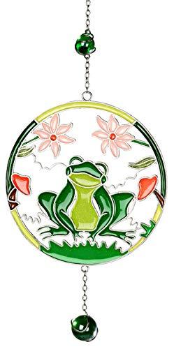 dekojohnson Moderne Deko für das Fenster-Hänger Fensterdeko Dekohänger Glasbild Tiffany Frosch Blumen Kreis Grün 28cm -