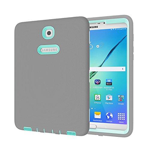 Galaxy Tab S28.0Fall, beimu 3in 1Hybrid PC + Silikon stoßfest stoßabsorbierenden Ecke/Bumper Schutz Armor Defender Schutzhülle für Samsung Galaxy Tab S28.0sm-t710/sm-t715, Grey+Aqua (Otterbox Samsung Tablet Tasche)