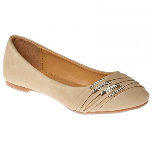 CASPAR SBA004 Chaussures pour femme - ballerines avec petites boucles et strass Nude