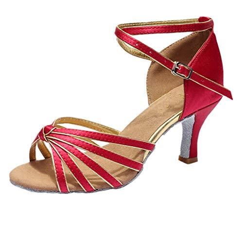 Dorical PU Damen Tanzschuhe/Latein Übergrößen Sandale für Innen-Tanzen/Soziale Partei Tango Tanzschuhe/Walzer Tanzschuhe für Halloween Performance-Schuhe Valentinstag Schuhe (Weinrot,37 EU)