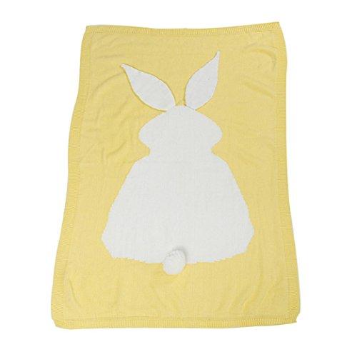 kingko® Kinder Kaninchen Stricken Decke Bettwäsche Gesteppte Spieldecke Tier Kinder werfen Decke Krippe Wrap Decke Gelb