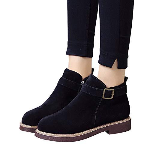 Preisvergleich Produktbild TianWlio Boots Stiefel Schuhe Stiefeletten Frauen Herbst Winter Schnalle Wildleder Volltonfarbe Stiefel Runde Zehe Schuhe Flache Booties Weihnachten Schwarz 38