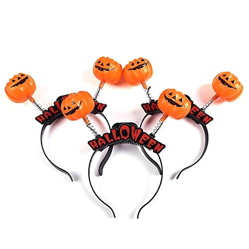 ZOYLINK 3 StÜcke Halloween Haarband Kürbis Skelett Kopf Leuchten Haarband Party Stirnband