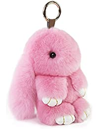 13cm Pendentif en forme de boule de fourrure de lapin Keychain pour sac à main sac Porte-clés Décoration Ornement, poudre