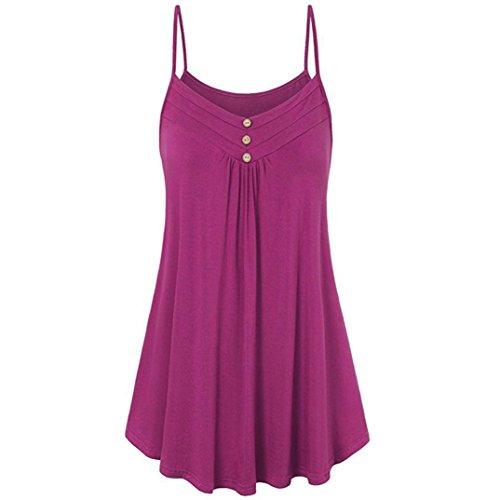 VEMOW Sommer Muttertag Geschenk Casual Täglichen Frauen Damen Lose Taste V-Ausschnitt Cami Tank Tops Weste Bluse T-Shirt T-stücke Pulli Pullover(Hot Pink, EU-48/CN-4XL)