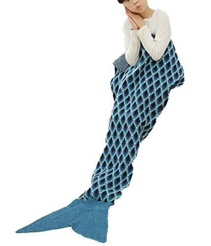 Newhaa Meerjungfrau Schwanz Decke für Kinder alle Jahreszeiten Schlafsack super weich und warm Mädchen, Marine -