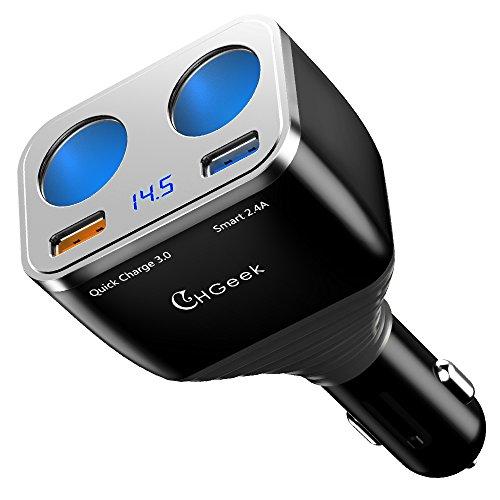 [Actualización 2018] Cargador de Coche QC 3.0+5V/2.4A Puerto USB, CHGeek 80W Adaptador Doble Encendedor de Cigarrillos, Carga Rápida para iPhone, iPad, Android, Xiaomi, Huawei, Samsung, GPS, Dashcam