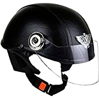 Leather helmet-black-open face