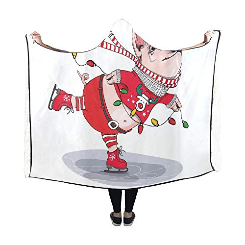 King Pig Kostüm - JOCHUAN Decke mit Kapuze Cute Pig Skating She Red Cardigan Decke 60 x 50 Zoll Comfotable Hooded Throw Wrap
