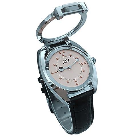 Blindenuhr taktile Armbanduhr für Sehbehinderte,Blinde oder ältere menschen Rosa Zifferblatt mit