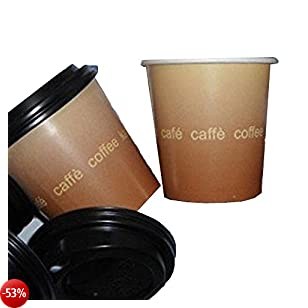 PZ 200 BICCHIERI CARTONE PER CAFFE' CL 10 + COPERCHIO NERO CON BECCUCCIO PAPER CUP COFFEE AND HOT DRINKS