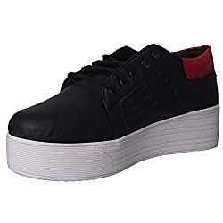 1 WALK MAPPLE COLLECTION ORIGINAL COMFORTABLE STYLISH WOMEN SHOES /SNEAKERS/COLLEGE WEAR/2018 LATEST COLLECTION/PARTY WEAR/CASUAL WEAR/WEEDING WEAR-Black-M35B-38