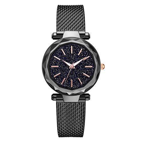 TWISFER Damen Uhren, Starry Sky Damenuhren, Frauen Sky Star Armbanduhr mit Mesh Edelstahl Armband für Business/Urlaub/Geburtstag Geschenke Att-telefon