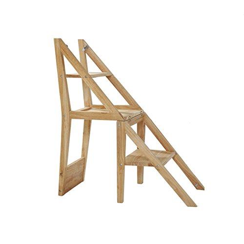 PENGFEI Massivholz Faltbare Stufenleiter Trittleiter Rückenlehnenstuhl Fischgrätenleiter Rückenlehne Stuhl Doppelnutzen Essensstuhl Aufsteigen Fußhocker Blumenstand Regal 3 Schritte, Holzfarbe -