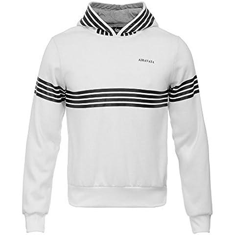 AIRAVATA Hombres Suéter Chándal Chico Larga Manga Moda Pull-Over Blanco Negra Raya Sudadera Con Capucha Sports Camisa De Entrenamiento