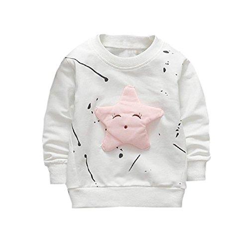 Camisetas para 0-2 Años,  Zolimx Bebé Niños Niñas Trajes Ropa Recién Nacido Estrella Impresa Algodón Manga Larga Camiseta Tops Sudaderas (Blanco, 2Años/ 100CM)