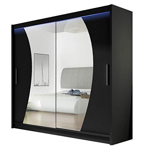 Kleiderschrank mit Spiegel London IX, Schwebetürenschrank, Schiebetürenschrank, Modernes Schlafzimmerschrank 180x215x57cm, Garderobe, Schlafzimmer (Schwarz, mit RGB LED Beleuchtung)