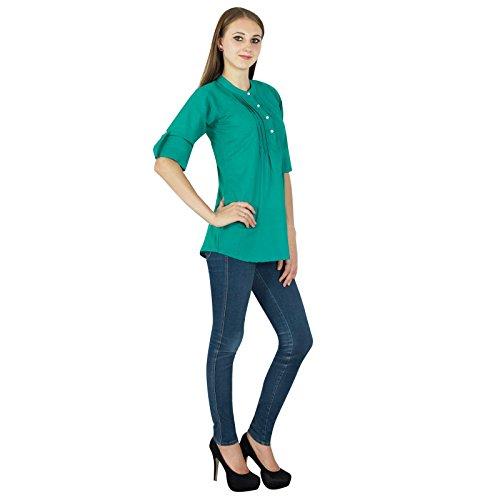 Casual Tunique Femmes Boho Dress Top Wear Vêtements En Coton Vert