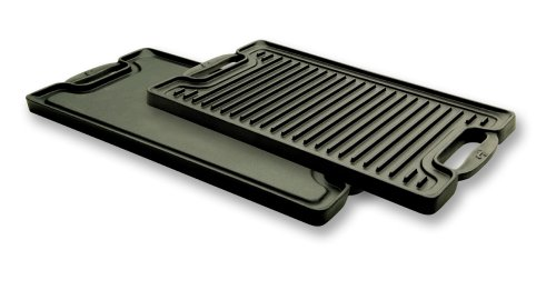 T-FAL Emeril by All-Clad E6019764 Cast-Iron 2-Burner Reversible Grill Griddle, Black by Groupe SEB