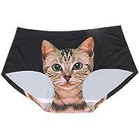 MMRM - Ropa interior de mujer, cómoda y sexy. Bragas suaves con impresión de gato en 3D. Color negro