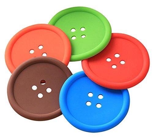 Leisial 5PCS Dessous de Verre en Silicone Antidérapant Sets de Table Isolation Décoration de Table pour Cuisine Salle à Manger