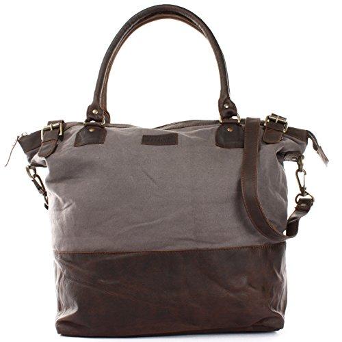 LECONI XL Shopper für Damen kleiner Weekender Beuteltasche große Frauen Schultertasche Wickeltasche Umhängetasche aus Canvas & Leder 50x41x20cm grau LE2005-C -