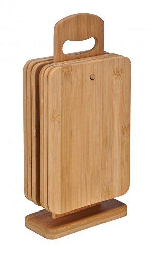 bonsport 6er-Set Schneidebretter bestehend aus 6 Brettchen mit Ständer :: Frühstücksbrettchen aus Bambus Holz