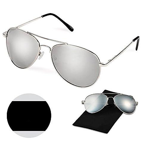 UV400 Polarized Men Women Sunglasses, WITERY UV Protection Premium Full Mirrored Aviator Metal Frame Polarized Sunglasses Flash Mirror Lens for Men