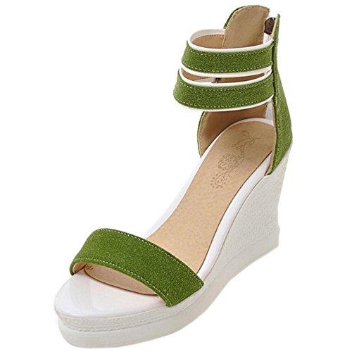 TAOFFEN Damen Gemutlich Keilabsatz Sandalen Sommer Schuhe mit Rei?verschluss Grun