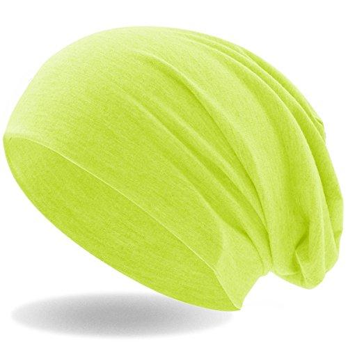 Hatstar Klassische Jersey Slouch Long Beanie Mütze, leicht und weich, für Damen und Herren (Neon Gelb)