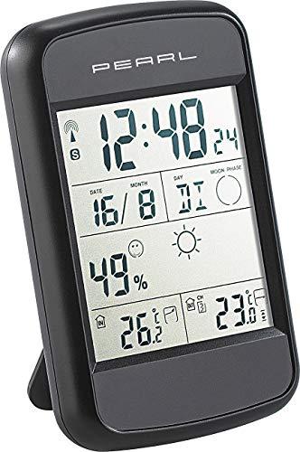 PEARL Funkuhr mit Thermometer: Digitale Wetterstation FWS-90 mit Funkuhr, Weckalarm & Wetterprognose (Funk Wetterstationen)