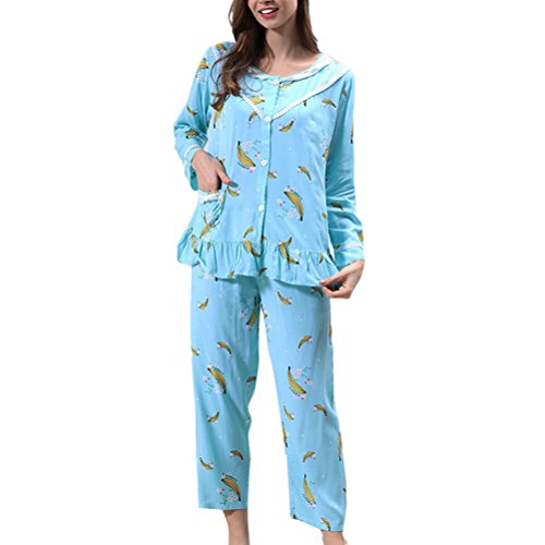 Zhhlinyuan Comfortable Breathable Nightwear Womens Long Sleeve Lovely Pyjama Set green