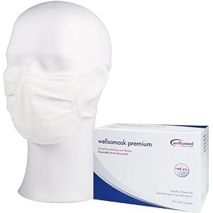 wellsamed wellsamask Mundschutz OP-Masken Einweg 50 Stück Weiß zum Binden 3-lagig