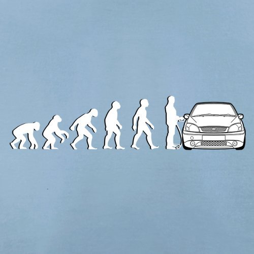 Evolution of Man - Fiesta Fahrer - Herren T-Shirt - 13 Farben Himmelblau