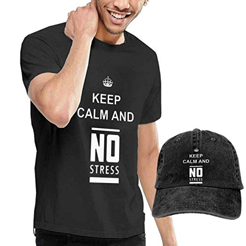 Kalinanai magliette, tee's, keep calm and no stress men's soft causalt-shirt con cappelli da baseball unisex fashion denim
